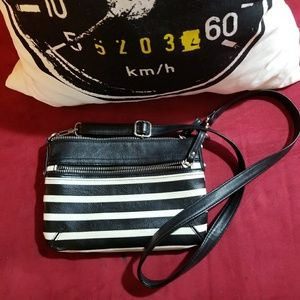NWOT Black & White striped Merona Purse